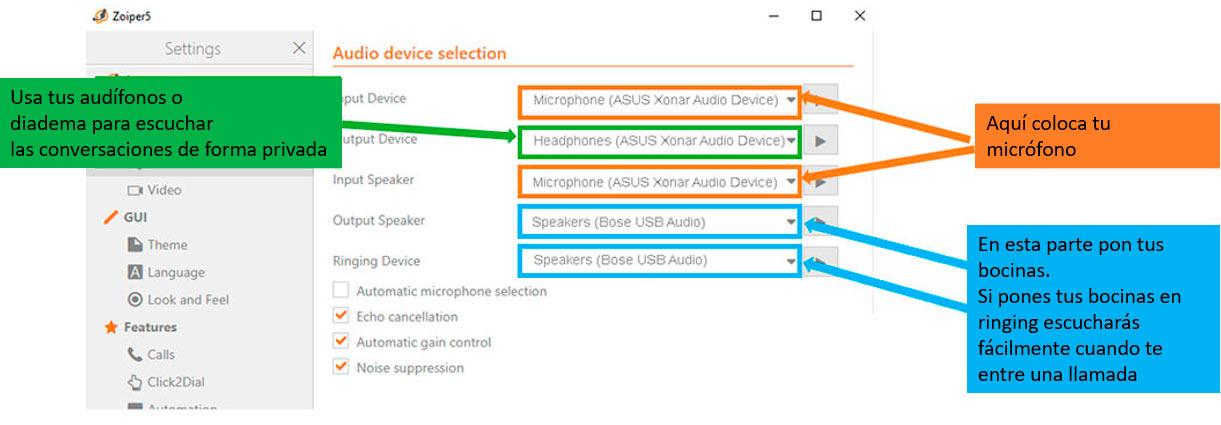 configuracion zoiper Windows microfono