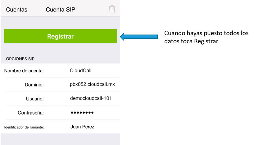 configurar zoiper iphone registrar