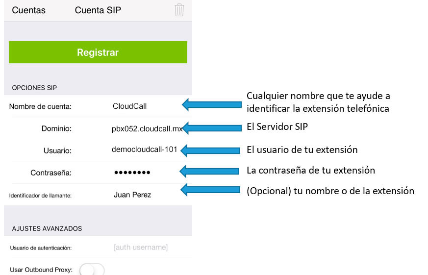 configurar zoiper iphone registro