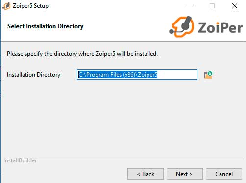 instalar zoiper windows ruta