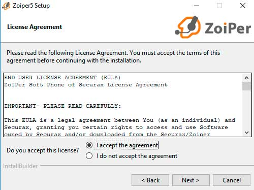 instalar zoiper windows terminos